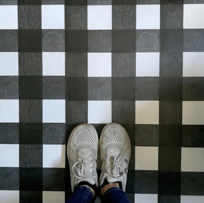 MIRTH GINGHAM PATTERN SHOES ON TILE