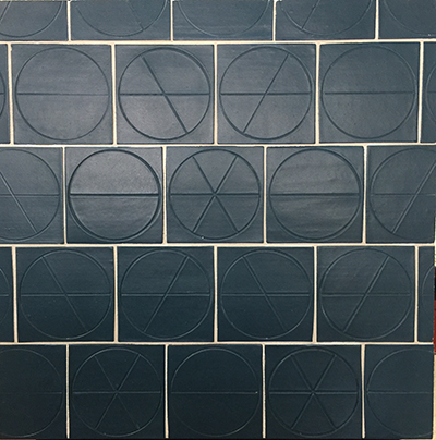 Red ROCK TILE circa collection navy blue sample board