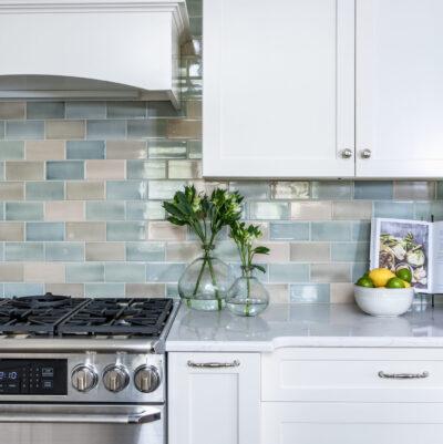 Machine Pressed Field installed on kitchen backsplash